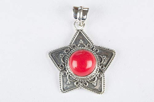 Coral Pendant, 925 Sterling Silver, Red Color Pendant, Star Shape Pendant, Handmade Jewelry, Minimalist Pendant, Party Wear Pendant, Stunning Pendant, Very Hot Stone Pendant, Round Shape Pendant