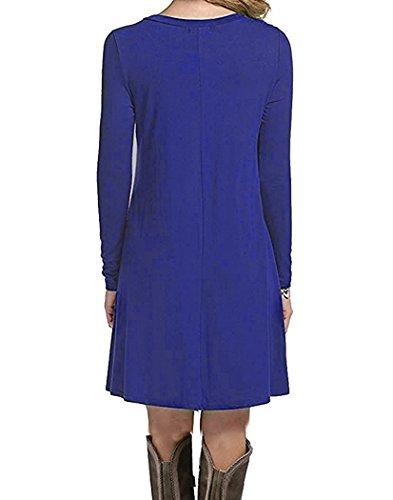 Manches Longues Femmes Dearcase Balançoire Lâche Flowy Courte Chemise Tunique Casual Mini Robe Manches Longues Bleu Foncé