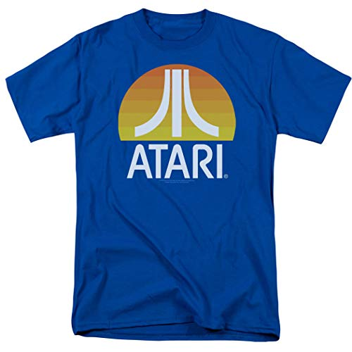Atari Video Game Retro Logo Vintage Gaming Console T Shirt & Stickers Blue (Medium)