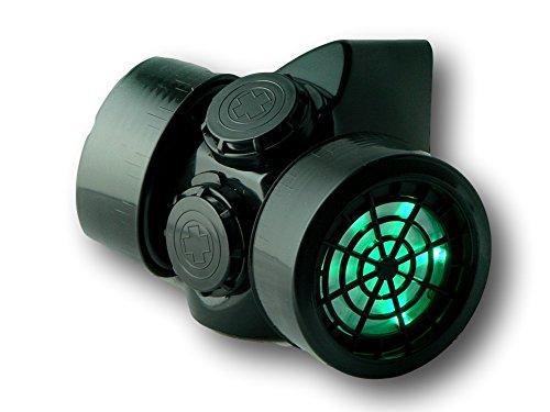 (TrYptiX Men's LED Black Framed Steampunk Gas Mask Green Lights)