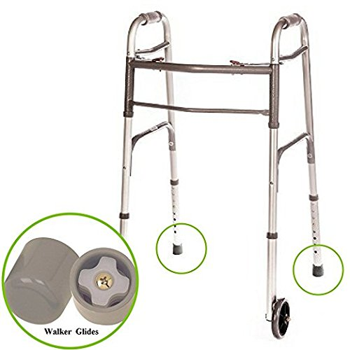 Walker Folding Deluxe 2 Button with Front 5 Wheels, Adjustable Height (Short, Standard, Tall People) by Healthline Trading