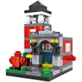 Micro Brickland Fire Station House Mini Blocks Bricks Diamond Building Toy (159 Pieces)