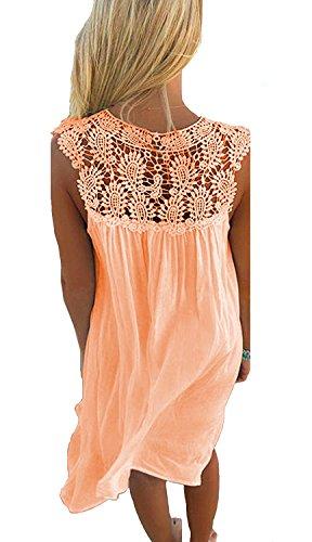 Sleeveless Orange Loose Amstt V Dress Neck Casual Size Lace Beach Sun Women Plus Chiffon qwOx0rt6O