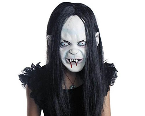 Scary Halloween Costumes - Halloween Horror Grimace Ghost Mask Scary Zombie Emulsion Skin with Hair (black Hair)