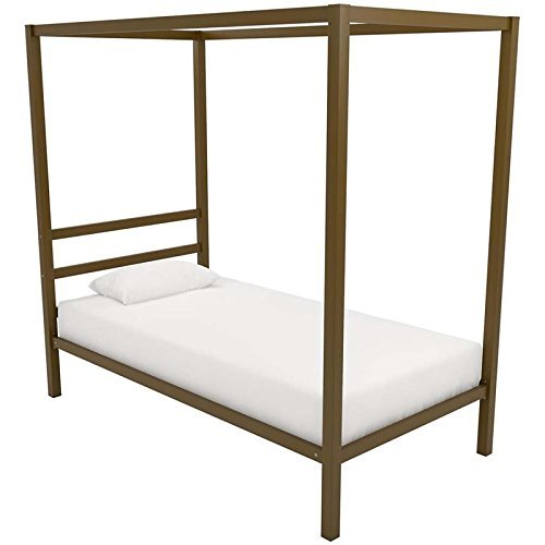 DHP Modern Canopy Bed with Built-in Headboard, Classic Design, Twin Size, Gold For Sale