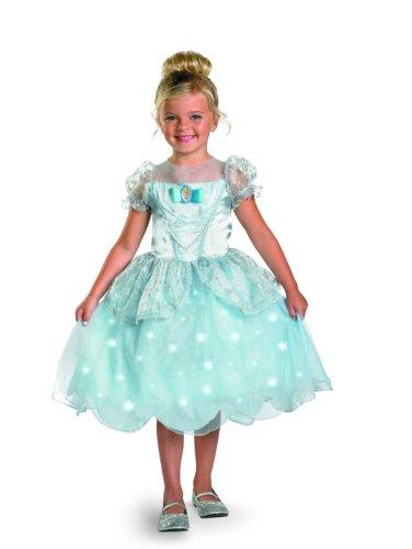 Disney Princess Cinderella Light Up Deluxe Costume, Blue, Medium (Cinderella Disney Costume)