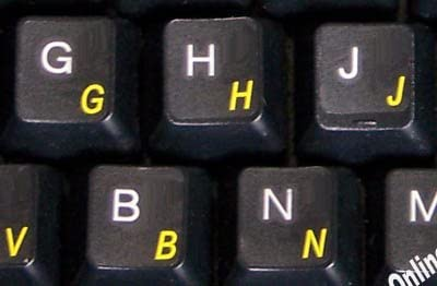 German Keyboard Label with Yellow Lettering Transparent for Computer LAPTOPS Desktop