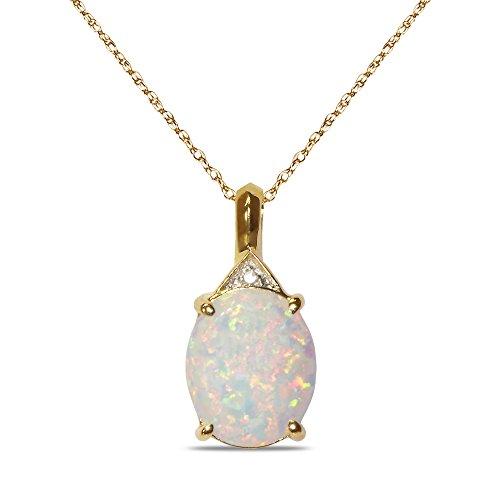 avec accents de diamant en Opale Pendentif en or jaune 10K