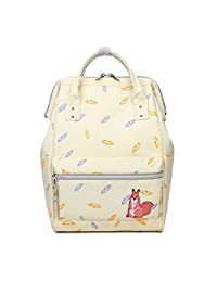 Artone Leaves Backpack School Daypack Canvas Tote Bag With Ipad Compartment Beige