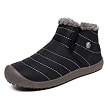 YIRUIYA Mens Anti-Slip Snow Boots With Fully Fur Lined High Top/Low Top