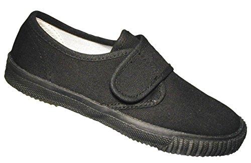 Black Childrens 3 Plimsolls Size Velcro Mirak qtwSEa0a
