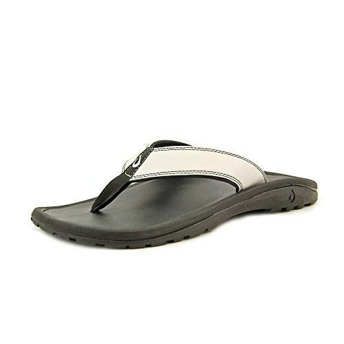 OLUKAI 'Ohana Leather Sandal - Men's Off White/Black 9 (Sandal Olukai Men's Ohana)