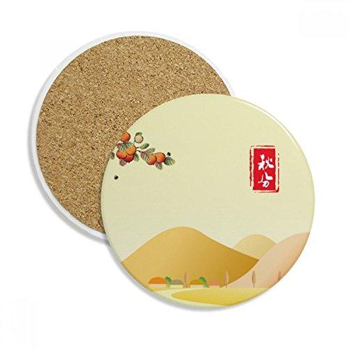 Autumnal Equinox Twenty Four Solar Term Ceramic Coaster Cup Mug Holder Absorbent Stone for Drinks 2pcs Gift by DIYthinker