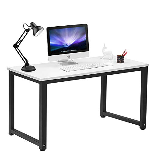 Coleshome Computer Desk 55'' Large Writing Desk for Office Home, White by Coleshome
