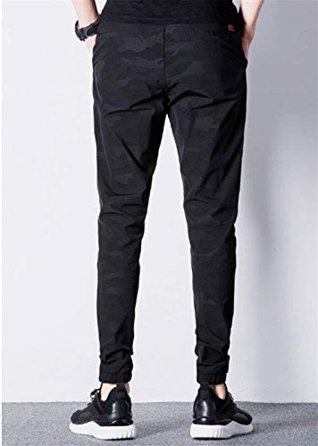 Hommes Poches Hulday Simple De 3 Long Camouflage Élastique Joggers Style Black Pantalons Jogging Sport wnS6qApx