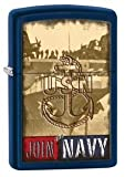 Zippo US Navy Logo Windproof Lighter, Blue Matte