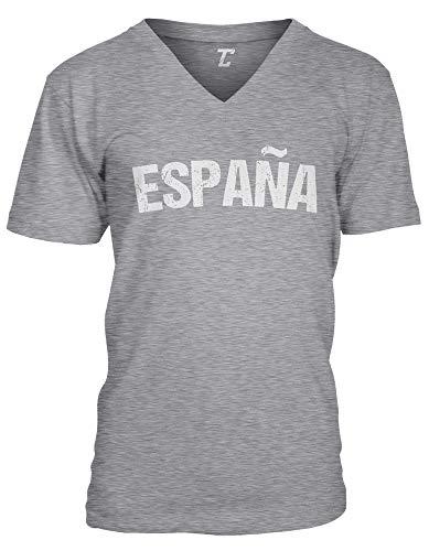 (España - Soccer Futbol Sports Spain Unisex V-Neck T-Shirt (Light Gray, Medium))