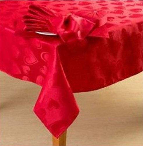 Romantic Happy Valentines Day Red Hearts Fabric Tablecloth (60