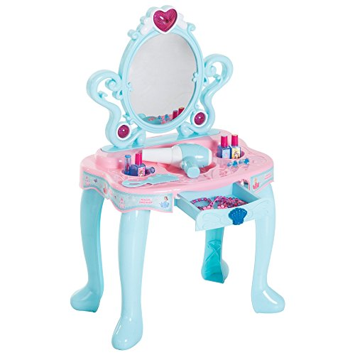 Qaba Kids Princess Vanity Table Pretend Play Set with Lights, Sounds, and Accessories - Light Blue/Pink by Qaba