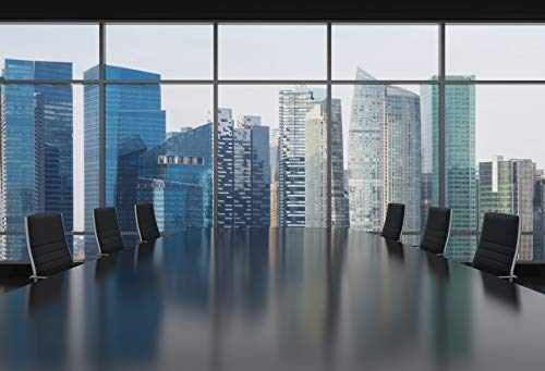 LFEEY 5x3ft Vinyl 3D Rendering Panoramic Windows Backdrop Bright Modern Open Space Office Photography Background Indoor Decors Wallpaper Large Meeting Room Backdrop Photo Studio Props
