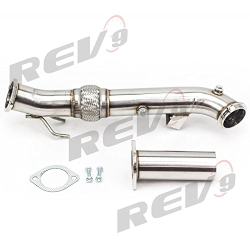 """Rev9 3"""" Downpipe for 2013-2017 Ford Focus ST 2.0L Ecoboost Catless Flex Turbo Down pipe Stainless Steel"""