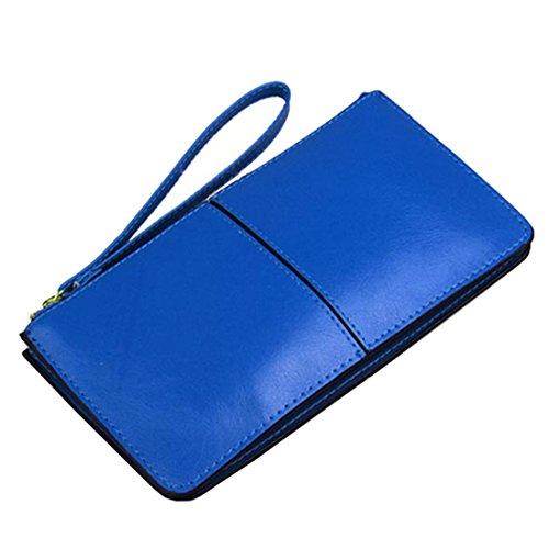 HuaDa Women's Wristlet Clutch Handbag Leather Purse Wallet Zipper Fit Iphone Blue