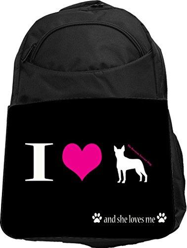 Rikki Knight UKBK I Love My Boston Terrier Dog Tech BackPack - (Boston Monogram)