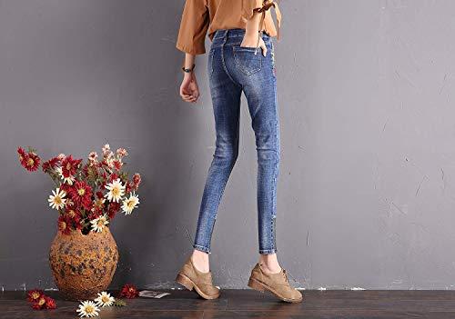 Casuales Fit Ropa Aire Libre Bordados Delanteros De Hellblau Con Pantalones Las Mujeres Moda Slim Bolsillos Cremallera Vaqueros Al wUpxzqZX8