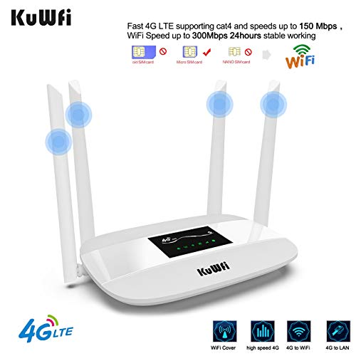 KuWFi 300Mbps 4G LTE CPE, Unlocked 4G CPE Wireless Router with SIM Card Solt with Antenna for Most Asia Europe Africa Middle East and South America Oceania Countries