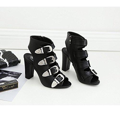 Forty Dans Sandales 7 Talons À L'Été Boucle Noire KHSKX Femme De La 5Cm Ceinture Correspondent Des Tous Sandales Épaisse qwZCRHxU