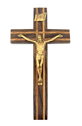 - Walnut Wood with Oak Inlay Crucifix with Gold Toned Christ Corpus, 8 Inch