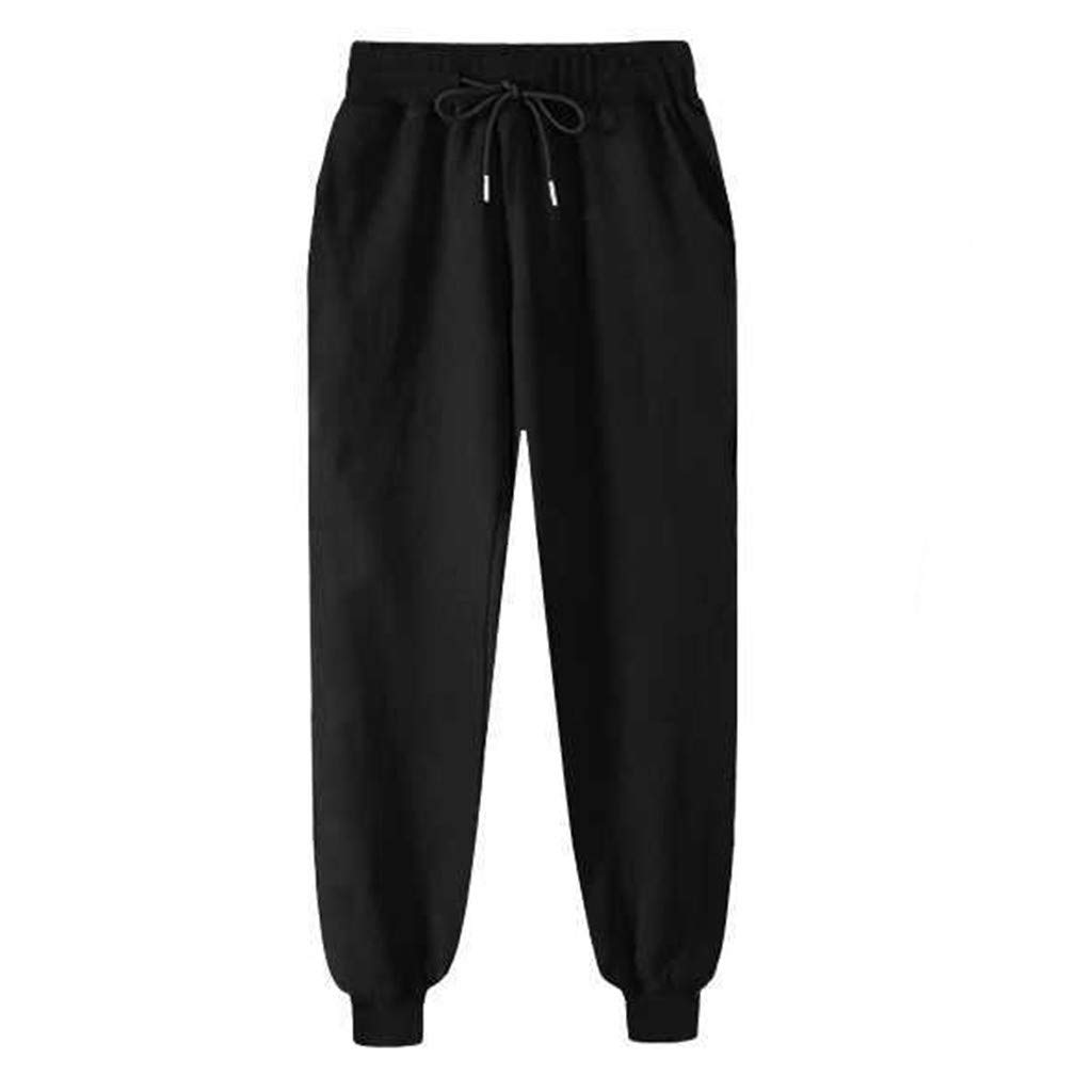 HENWERD Womens Harem Pants Casual Elastic Waist Drawstring Sport Trouser with Pockets (Black,XXXXL)