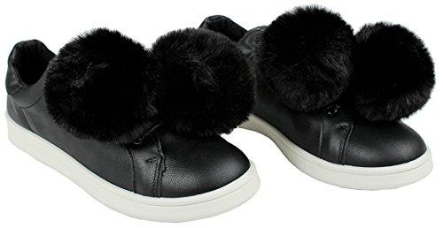 Abbigliamento Donna Moda Fluffy Finta Similpelle Pelliccia Pom Pom Stringate Suola In Gomma Sneaker Nero