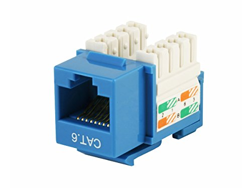 Monoprice Cat6 Punch Down Keystone Jack - Blue (Networking 568a Cables)