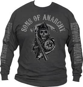 sons of anarchy fear the reaper long sleeve t shirt extra large clothing. Black Bedroom Furniture Sets. Home Design Ideas
