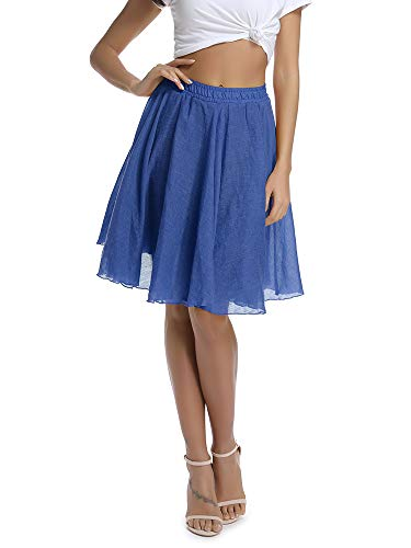 - Women's Lightweight Flare Big Swing Boho Knee Length Skirt, Elastic Waist Flowing Beach Wear Denim Blue Tag 26 - US 0-2
