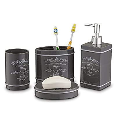 Home Basics Paris Collection 4 Piece Bathroom Accessories Set, Bath Set Features Soap Dispenser, Toothbrush Holder, Tumbler, Soap Dish With Stylish Accent Decor To Complement Any Bathroom Gray/Slate - QUALITY CERAMIC BATH AND VANITY ACCESSORY Set is made of durable ceramic that can easily last a lifetime-Upgrade The Decor of Your Bathroom With Flair At a Budget That You Can Afford COMPLETE LUXURY SET-Accessorize Your Bathroom With our Top Quality Paris Collection Set Which includes; 1 Lotion/Soap Dispenser, 1 Toothbrush Holder, 1 Soap Dish and 1 Tumbler- Providing Everything You'll Ever Need to Keep Your Bathroom Fully Functional FUNCTIONAL AND STYLISH ACCENT DECOR FOR ANY BATHROOM-Our Bath Accessories Have a Stylish Paris Flair Appearance That will Complement Your Bathroom Decor Beautifully - bathroom-accessory-sets, bathroom-accessories, bathroom - 41pybZMCsxL. SS400  -