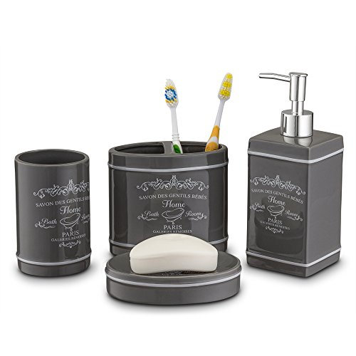 Home Basics Paris Collection 4 Piece Bathroom Accessories Set, Bath Set Features Soap Dispenser, Toothbrush Holder, Tumbler, Soap Dish With Stylish Accent Decor To Complement Any Bathroom Gray/Slate (Soap European Style Dish)