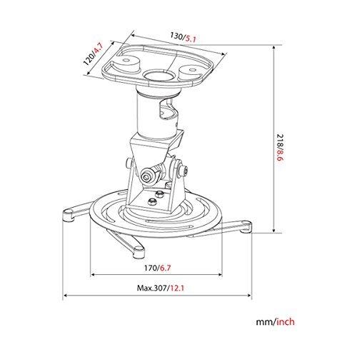 AMER Projector Mount - Universal Ceiling Bracket LCD DLP Tilt 360° Swivel 30lbs (Silver)