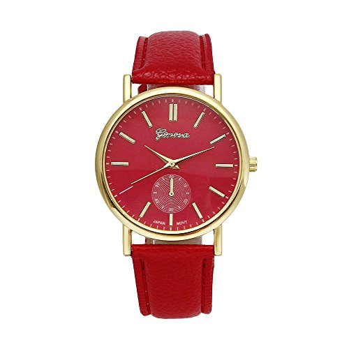 Luweki New Unisex Leather Band Analog Quartz Vogue WristWatch Watches Red