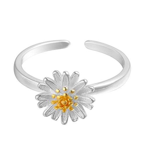 Qiandi 925 Sterling Silver Daisy Chrysanthemum Yellow Flower Open Ring Christmas Jewelry Women Girls Gift