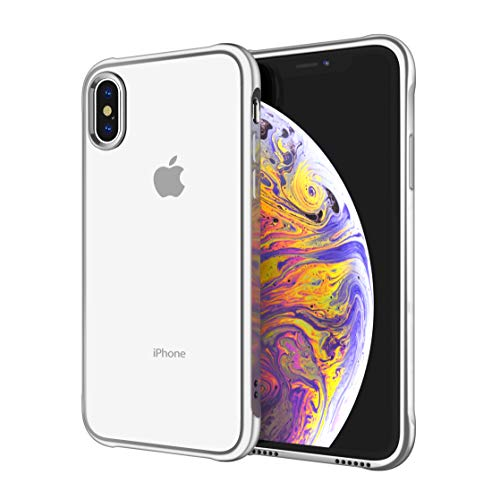Soke iPhone Xs Max Case 2018, Slim Fit Cover Case [Unique Loudspeaker Hole][Drop Protection] with Clear Soft TPU Back and Electroplated Frame for iPhone Xs Max 6.5 Inch (2018 Released), Silver