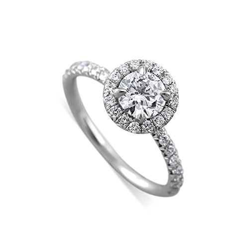 Solid 18K White Gold Micro Pave Diamond Engagement Ring Mounting (Micro Mounting Pave)