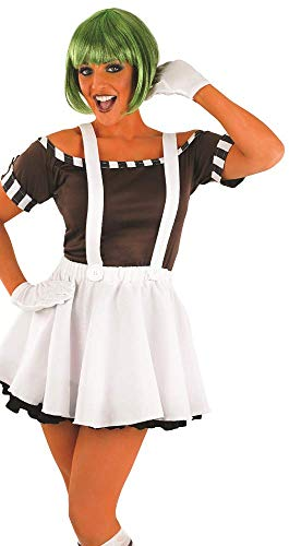 5 Pc Ladies Sexy Oompa Loompa with Wig Halloween Book Day Fancy Dress Costume Outfit 8-22 Plus Size (UK 16-18)