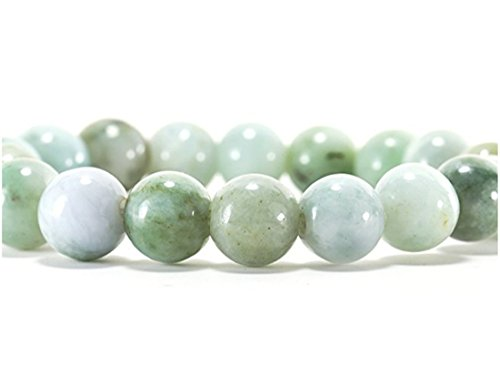 Old Green Jade Bracelet Bangle - Karatgem Jewelry Natural Jadeite Jade Bracelet Beads 10/14mm Light Green Color (10mm x 18 Beads) (10mm x 18 Beads)