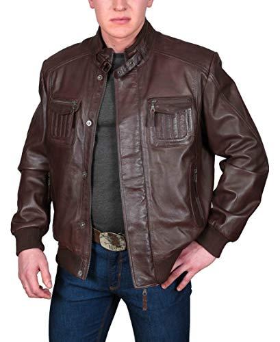 bombardero hombre de para de de piel Chaqueta cuero chaqueta de de cordero cremallera marr suave Abrigo de tRx1Uq
