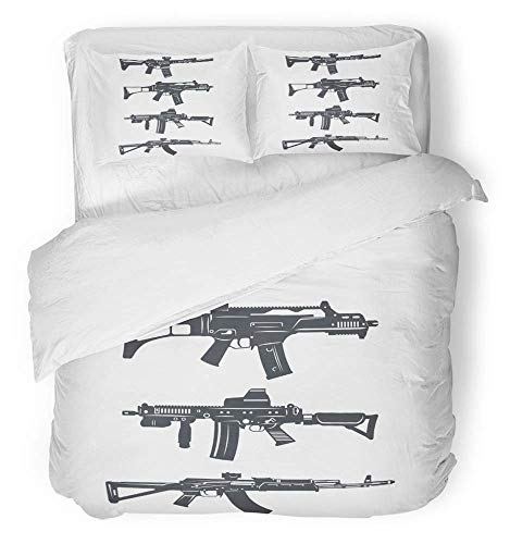 (Lwfoy 3 Piece Duvet Cover Set Breathable Brushed Microfiber Fabric Navy Glock Modern of Various Assault Rifles Gun Ammunition Armament Arms Army Bedding Set with 2 Pillow Covers King Size)