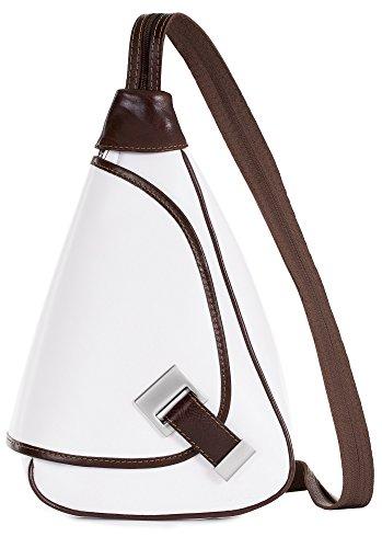 Genuine Italian Liatalia Leather Small Duffle White In Backpack Trim Bag Brown Mila Rucksack qYg0q