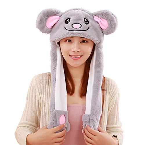 HYYER Koala Hat Cap Animal with Airbag Jumping Ear Movable Plush TIK Tok Gift -