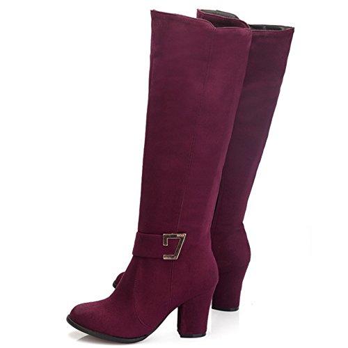 Boots 1414 Winter calf Wine Red Shoes Autumn Heel High Women Mid Fashion Block TAOFFEN tUqHPvn1